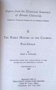 Early History of the Colonial Post Office (1894) United States Postal History