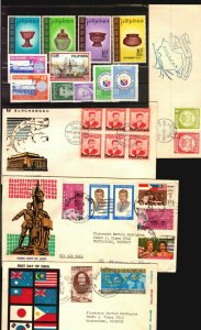 Pilipinas Philippines 9 FDC covers + MNH stamps ceramic pot art ship