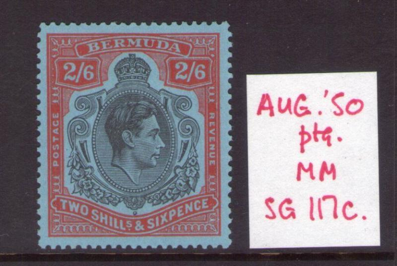 BERMUDA GEORGE VI 2/6 SG117c  Aug. 50  lightly hinged condition.