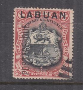 LABUAN, 1901 Postage Due, OVERPRINT MISPLACED, 6c. perf. 16, Bars cancel.