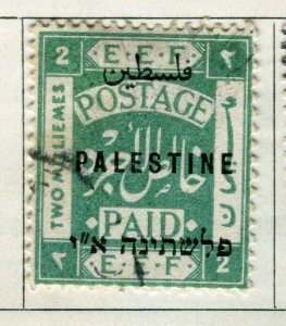 PALESTINE; 1921 early Postage Paid Optd. issue fine used 2m. value