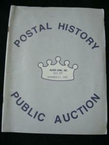 KOVER KING  AUCTION CATALOGUE 1981 POSTAL HISTORY