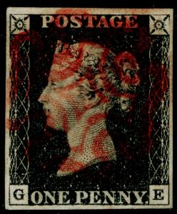 SG2, 1d black, FINE USED. Cat £400. RED MX. 4 MARGINS. GE