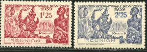 REUNION Sc#174-175 1939 New York World's Fair Complete Set OG Mint Hinged