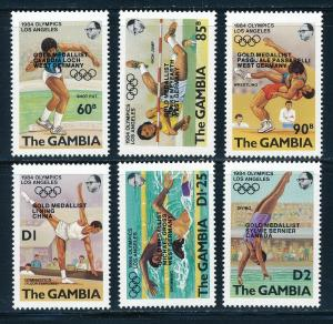 Gambia - Los Angeles Olympic Games MNH Sports Set Overprinted (1984)