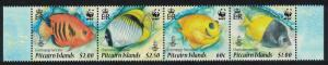 Pitcairn WWF Coral Reef Fish strip of 4 SG#807-810 SC#705a-d MI#805-808 SALE