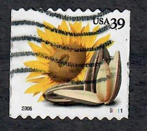 US #4005 Sunflower & Seeds Used PNC Single plate #S11111