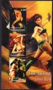Tajikistan  2002 The Art of Julie Bell Fantasy Sheetlet (3) Perforated MNH