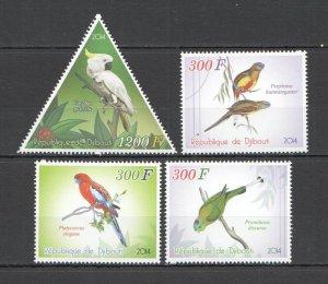 C1085 2014 DJIBOUTI PARROTS BIRDS FAUNA 1SET MNH