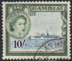 Gambia 1953 10/- s.s. Lady Wright used