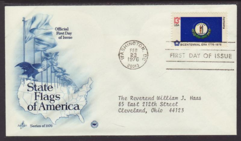 US Kentucky State Flag 1976 PCS Typed FDC BIN