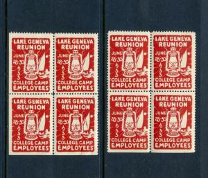 8 VINTAGE 1933 LAKE GENEVA COLLEGE CAMP EMPLOYEES REUNION POSTER STAMPS (L492)