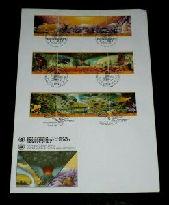 U.N. 1993, ENVIRONMENT CLIMATE, STRIPS/4 ON LARGE FDC, ALL 3 OFFICES, NICE LQQK