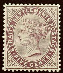 MALAYA Straits Settlements 1882 QV 5c MH wmk CC SG#48 CV £120 Purple-Brown M2175