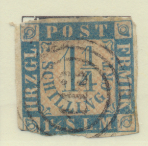 Schleswig-Holstein (German State) Stamp Scott #17, Used, Cut Corner - Free U....