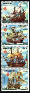 PARAGUAY 1987 OLD SPANISH SAILSHIPS 500°ANIV DISCOVERY STRIP OF 4 MNH Mi 4106-9