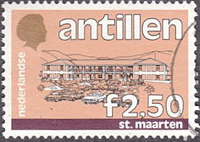 Netherlands Antilles # 546 used ~ 2.50g Government Building, St. Maarten