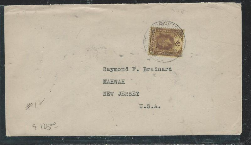 CAYMAN ISANDS (P1706B)1920  KGV 3D SINGLE FRANK TO USA