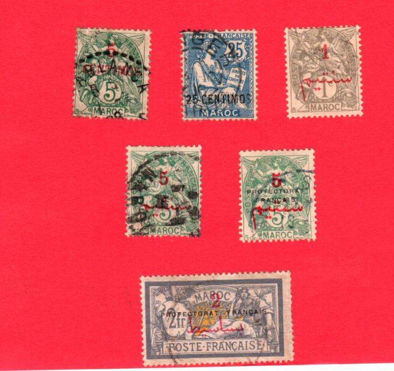 FRENCH MOROCCO 6 DIFFERENT USED STAMPS SCOTT # 15, 18, 26, 29, 41 and 53