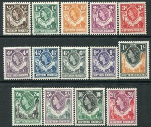 NORTHERN RHODESIA-1953 Set to 20/- Sg 61-74 LIGHTLY MOUNTED MINT V35926