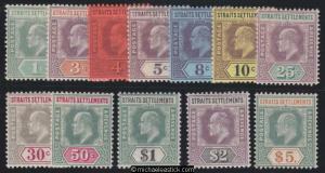 1902-3 Straits Settlements set of 12 top value wirh cert, SG 110-121
