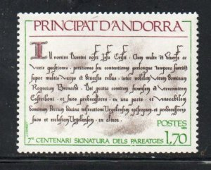 Andora (Fr) Sc 266 1978 700th Anniversary Treaty of  stamp mint NH