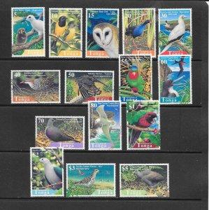 BIRDS - TONGA #992-1006   MNH