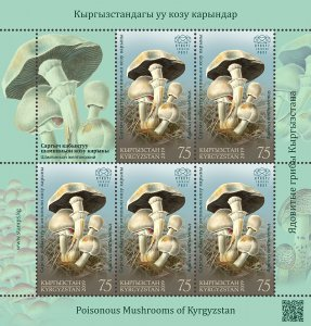 Stamps of Kyrgyzstan 2019. - Minisheet.  122L. Yellow-staining Mushroom.