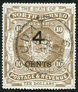 North Borneo SG126 4c on Ten Dollars Brown