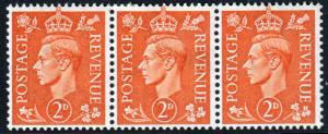 GB KGVI 1941 2d Pale Orange SG488 Block x 3 Mint Hinged