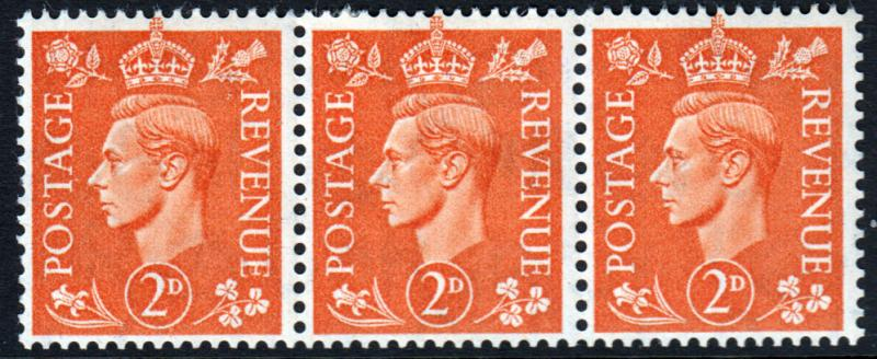 GB KGVI 1941 2d Pale Orange SG488 Block x 3 Mint Hinged