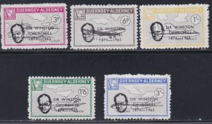Guernsey -Alderney, Local Issues, Sir Winston Churchill Overprints, NH