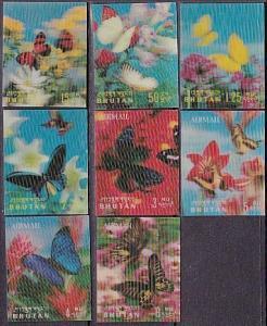 BHUTAN 1968 3D Butterflies set complete MNH................................68034