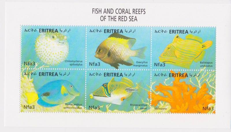 Eritrea - Fish & Coral Reefs of the Red Sea, 2000 - Sc 334 Sheetlet of 6 MNH