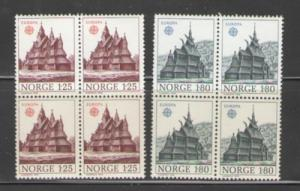 Norway Sc 727-8 1978 Europa stamps blocks of 4 mint NH