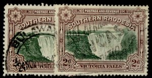 SOUTHERN RHODESIA GV SG35 + 35a, 2d PERF VARIETIES, FINE USED. Cat £20.