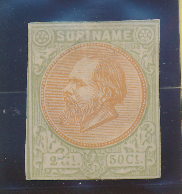 Surinam Stamp Scott #16, Unused, No Gum, Imperf (Or Cut Down) - Free U.S. Shi...