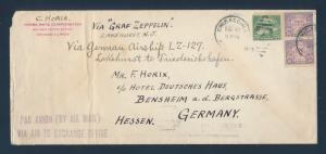 LZ127 GRAF ZEPPELIN FLOWN LARGE COVER AUG 28,1929 LAKEHURST TO F'SHAFEN BU6711