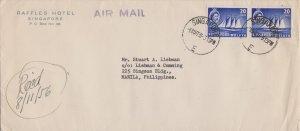 Singapore 20c QEII Cocos-Keeling Schooner (2) 1956 Singapore, E Airmail to Ma...