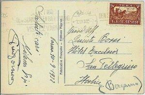 24168  - BULGARIA - POSTAL HISTORY -  Nice postmark on POSTCARD to ITALY 1932