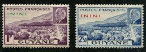 Fr L'Inini SC# 44-5 Petin - Vichy issue 1f 2f50 MH