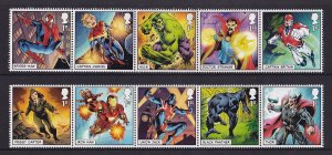 Great Britain  MNH  2019  Marvel comics set  spider-man  in strips of 5