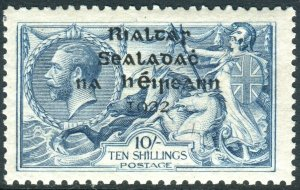 IRELAND-1922 10/- Dull Grey-Blue.  A mounted mint example Sg 21