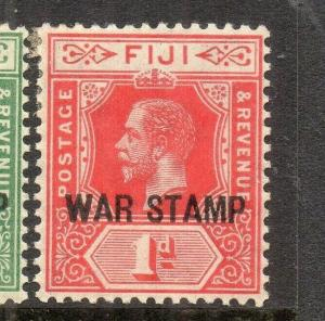 FIJI 1918 GV Early Issue Fine Mint Hinged 1d. War Stamp Optd 304606