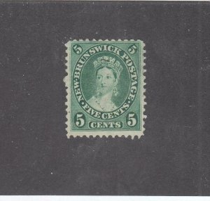 NEW BRUNSWICK # 8a VF-MNG 5cts 1860 QN VICTORIA /BLUE GRN /CENTS ISSUE-02 CV $40