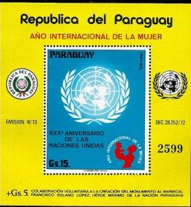 PARAGUAY 1975 ONU ANIVERSARY,INTERNATIONAL WOMEN YEAR  S/SHEET MI 250 MNH