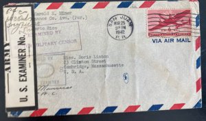 1942 San Juan Puerto Rico Army Censored Airmail cover To Cambridge MA Usa