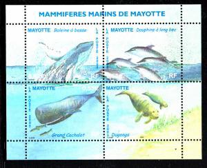 Mayotte MNH Scott #215 Souvenir sheet of 4 Humpback whale, Dolphins, Sperm wh...