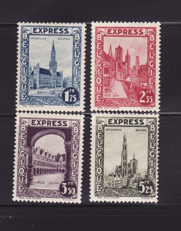 Belgium E1-E4 Set MHR Buildings, Special Delivery Stamps