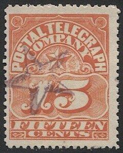US 1885 Sc 15T2  Used, 15c Postal Telegraph Co., Star cancel